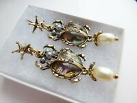 ART DECO STYLE SCARAB BEETLE DROP EARRINGS VINTAGE STYLE PEARL ABALONE DANGLE