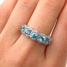925 Sterling Silver Real Blue Topaz Gem & C Z Ring Size 7