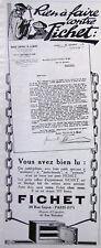 PUBLICITE PRESSE 1925 RIEN A FAIRE CONTRE FICHET PETIT COFFRE-FORT D'APPARTEMENT