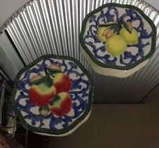 Fitz and Floyd Classics Handcrafted 2 Decorative Plates Apple and Lemon Plates