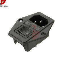 3 in 1 IEC320 AC Inlet Male Plug Power Supply Socket With Fuse Switch 10A 250VAC