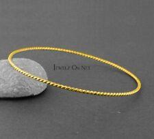 14K Solid Gold Twisted Wire Rope Finish Handmade Bangle Bracelet