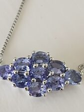 2.97ct AA tanzanite sterling silver necklace