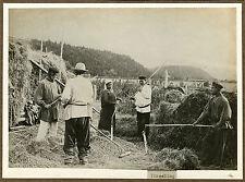 IMPERIAL RUSSIA, PEASANTS, THRESHING - ORIGINAL ca 1900's PHOTO