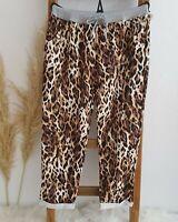 Jogging Sweat Hose Jogpants Animal Leo Leopard Freizeit Braun Beige 46 48 50