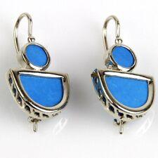 14k White Gold Turquoise Designer Earrings
