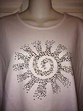 Women's Southern Lady Short Sleeve White Stud Swirl Knit Shirt Size Large