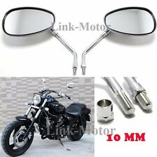 CHROME MOTORCYCLE OVAL REAR VIEW MIRRORS FOR HONDA SUZUKI DUCATI KAWASAKI 10mm