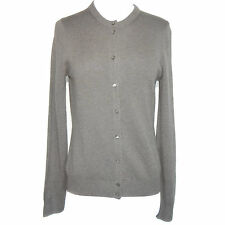 J. Crew 100% Cashmere Sweater Gray Cardigan Button Up Women's Size Medium EUC