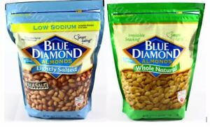 Blue Diamond Almonds 40 Oz Resealable Bag Free Shipping Natural or Light Salted