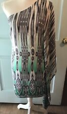 NEW $369 Jay Godfrey Ikat One Shoulder Dress Green White Black Size 2 S xs