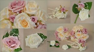 Wedding posy bouquet, flowers dusty pink, bridesmaid, flower girl wand, corsage