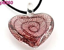 1 pcs elegant heart Lampwork Glass Pendant Necklace