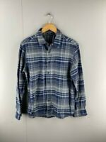 George Mens Vintage Blue Grey Long Sleeve Western Button Up Shirt Size Medium