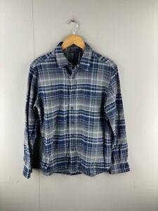 George Mens Vintage Blue Grey Long Sleeve Western Button Up Shirt Size Medium