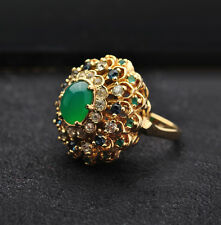 PANETTA Imperial Jade sim. Cocktail ring Sterling Silver / Gold gilt- Size 8 1/2