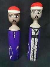 Vintage Wooden Handpainted Man Woman Couple Dolls Handmade Folk Artisan Craft