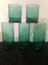 5 Vintage Anchor Hocking Glasses Old Fashioned 10 Sided Highball/juice Green
