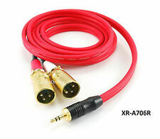 CablesOnline 6ft 3.5mm Stereo Male to Dual XLR Male Ultra Flex Red Audio Cable