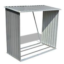 vidaXL Garden Log firewood Storage Shed Shelter Roof 2m³ Galvanised Steel Grey
