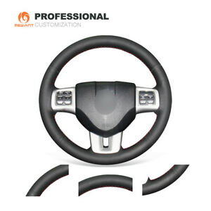 Black Real Leather Steering Cover for Dodge Challenger Charger Avenger Durango