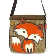 New Chala Deluxe Messenger Crossbody  Bag Faux Vegan Leather FOX Brown gift