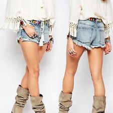 NWT $98 Free People Elliot Embroidered Jean Shorts Womens Sz 29 Jeans Cut Offs