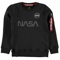 Kids Alpha Industries NASA Ref Crew Neck Sweater Long Sleeve New