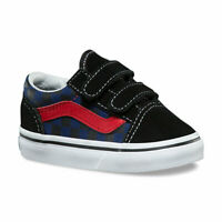 Vans Little Boys Old Skool V Sneakers (Checkerboard) Black/ Blue Depth 2 New