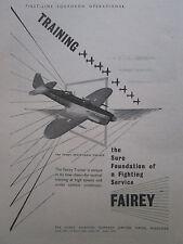 4/1947 PUB FAIREY AVIATION HAYES FIREFLY MK I TRAINER ROLLS GRIFFON ORIGINAL AD