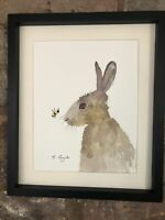 Little Hare And Bee, Watercolour, Signed Original Art, Vintage, Cottage, Gift