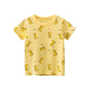 Short Sleeve Dinosaur Boys T-shirt Girls Collarless Top Kid Cotton Tee Shirt ^