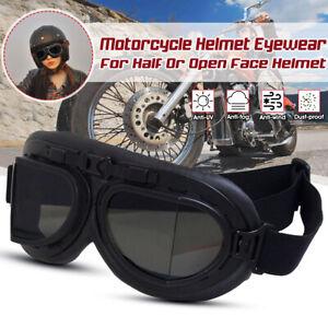 Retro Motorradbrille Bikebrille Flieger Sonnenbrille Helm Goggles  >