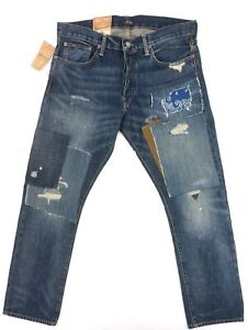 NEW POLO RALPH LAUREN VARICK PATCHWORK DISTRESSED SLIM STRAIGHT JEANS 33X30