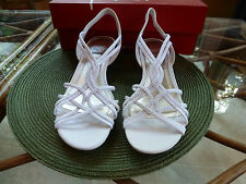 NEW IN BOX! WOMEN WHITE STRAPPY WEDGE STRETCH PEEP-TOE SANDALS BY IMPO SIZE 8 M