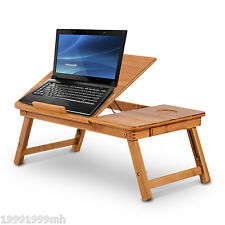 HOMCOM Foldable Bamboo Lapdesk Laptop Stand Notebook Desk Table with Drawer