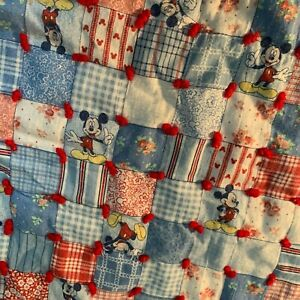Vintage Mickey Mouse Quilt Baby Toddler Crib Blanket Blue / White / Red