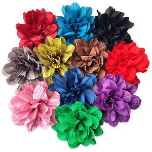 UK Seller NEW Beautiful Frilled Satin Ribbon Flower Hair Clip 10 Colours