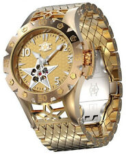 New Watchstar American Star Open Heart Automatic Yellow Gold Tone Watch