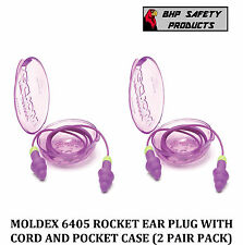 (2 PAIR) MOLDEX ROCKETS 6405 REUSABLE EAR PLUGS CORDED WITH CARRY CASE