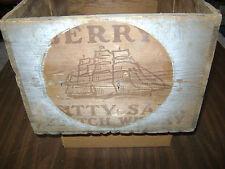 Antique Cutty Sark Scotch Whiskey Wood Storage Box King George VI Decor New York