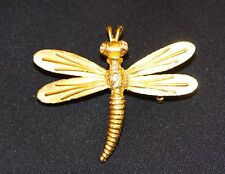 Gold Dragonfly With Rhinestones Pin Brooch