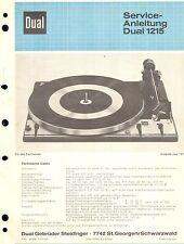 Dual service manual pour 1215