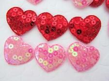 50 Red & Pink Sparkly Sequin Heart Applique Trim/patch/Valentine/bow/padded H385