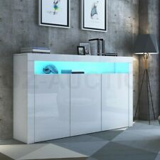 High Gloss Buffet Sideboard Cabinet Wooden Cupboard 3 Doors With RGB LED White