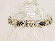 HANDMADE FILIGREE  DIAMOND AND BLUE SAPPHIRE 14 K WHITE GOLD BRACELET