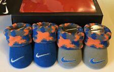 NIKE - baby boy booties blue orange gray camo w/ swoosh 0-6 mo NWT