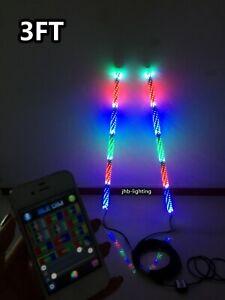 jhb-lighting Pair 3FT Bluetooth Chasing Twisted LED Whips Lights for ATV UTV RZR