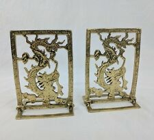 Foldable Folding Hinged Brass Asian Oriental Dragon Bookends Decor Pair