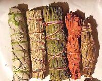 SET of 5 Sage Smudge Stick SAMPLER Blue, Red, White, Yerba Santa, Cedar ~ #2